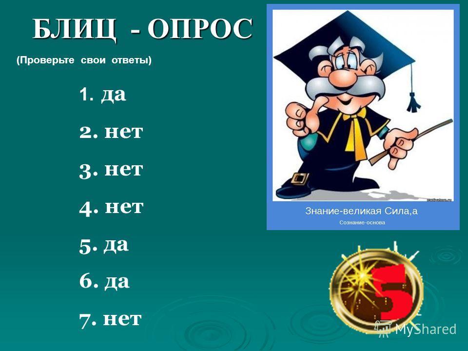 БЛИЦ - ОПРОС 1. да 2. нет 3. нет 4. нет 5. да 6. да 7. нет (Проверьте свои ответы)
