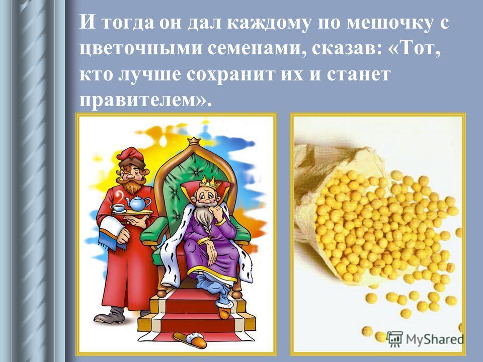 И тогда он дал каждому по мешочку с цветочными семенами, сказав: «Тот, кто лучше сохранит их и станет правителем».