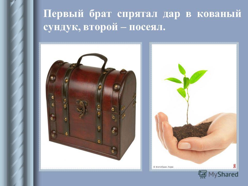 Первый брат спрятал дар в кованый сундук, второй – посеял.
