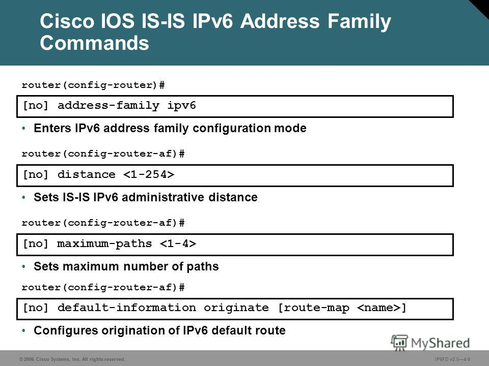 © 2006 Cisco Systems, Inc. All rights reserved. IP6FD v2.04-9 [no] address-family ipv6 router(config-router)# Enters IPv6 address family configuration mode [no] distance router(config-router-af)# Sets IS-IS IPv6 administrative distance [no] maximum-p