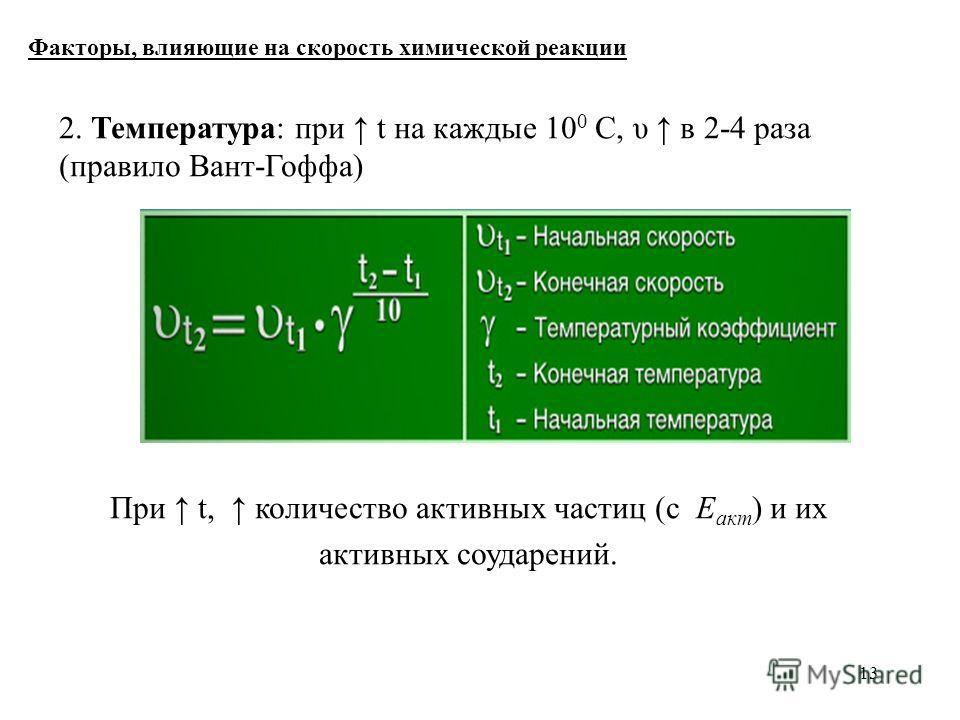13 Факторы, влияющие на скорость химической реакции 2. Температура: при t на каждые 10 0 С, υ в 2-4 раза (правило Вант-Гоффа) При t, количество активных частиц (с Е акт ) и их активных соударений.