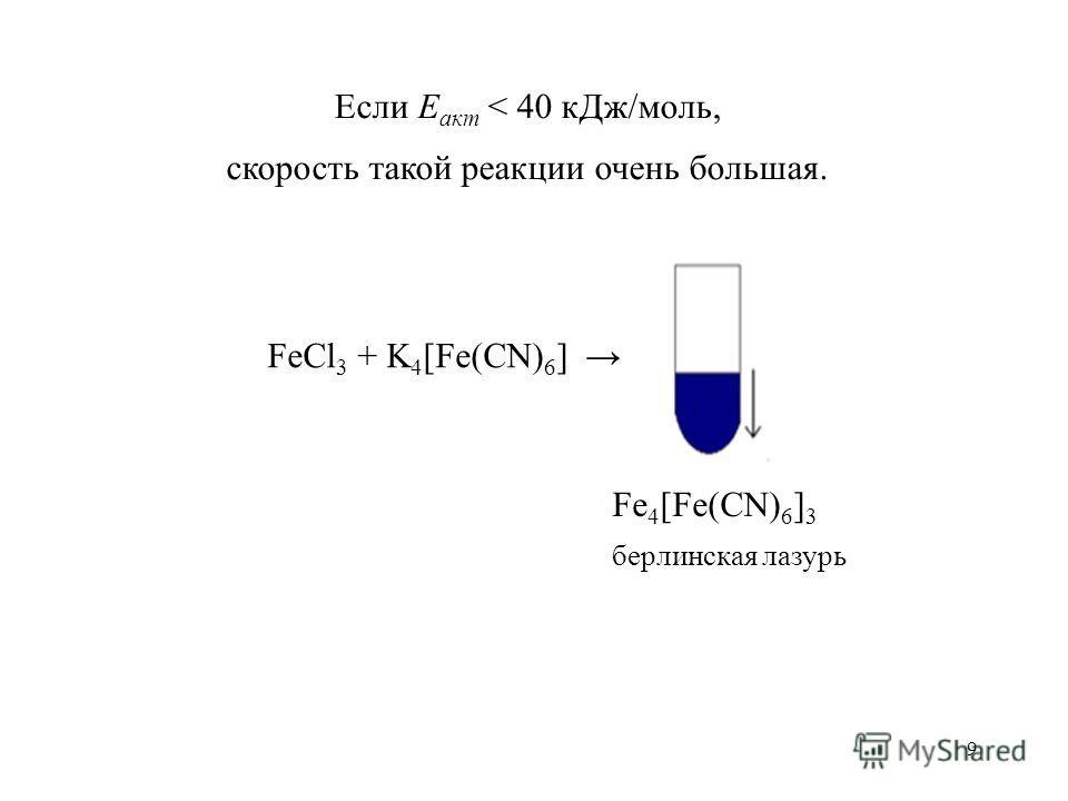 9 Если Е акт < 40 к Дж/моль, скорость такой реакции очень большая. FeCl 3 + K 4 [Fe(CN) 6 ] Fe 4 [Fe(CN) 6 ] 3 берлинская лазурь