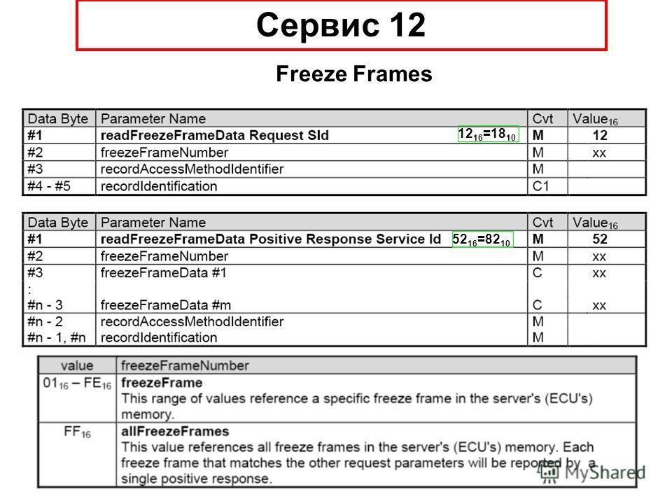 12 16 =18 10 Cервис 12 Freeze Frames 52 16 =82 10