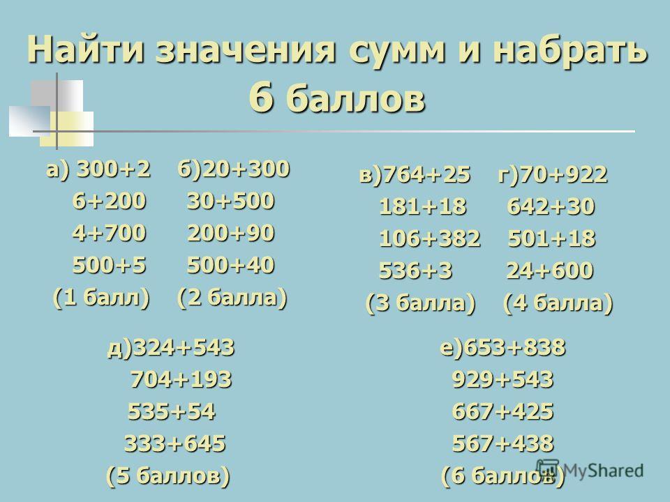 Найти значения сумм и набрать 6 баллов а) 300+2 б)20+300 6+200 30+500 6+200 30+500 4+700 200+90 4+700 200+90 500+5 500+40 500+5 500+40 (1 балл) (2 балла) (1 балл) (2 балла) в)764+25 г)70+922 181+18 642+30 181+18 642+30 106+382 501+18 106+382 501+18 5