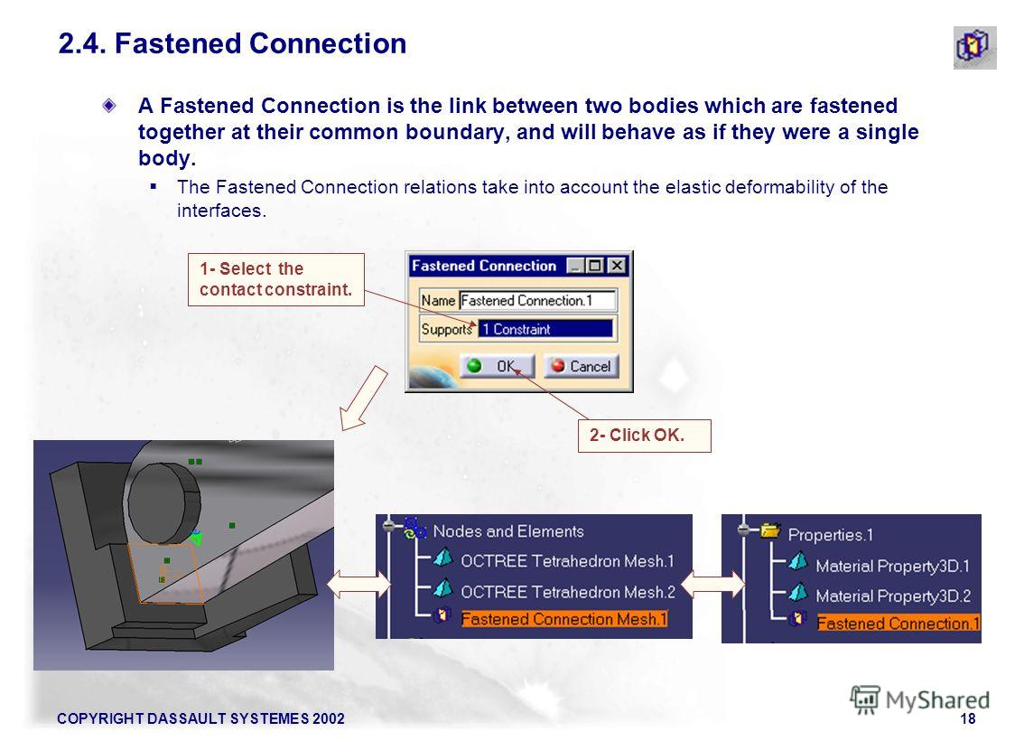 COPYRIGHT DASSAULT SYSTEMES 200218 A Fastened Connection is the link between two bodies which are fastened together at their common boundary, and will behave as if they were a single body. The Fastened Connection relations take into account the elast