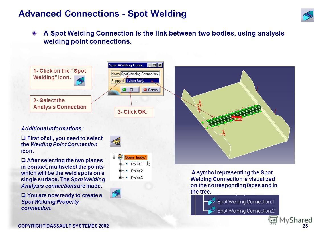 COPYRIGHT DASSAULT SYSTEMES 200225 Advanced Connections - Spot Welding A Spot Welding Connection is the link between two bodies, using analysis welding point connections. 1- Click on the Spot Welding icon. A symbol representing the Spot Welding Conne
