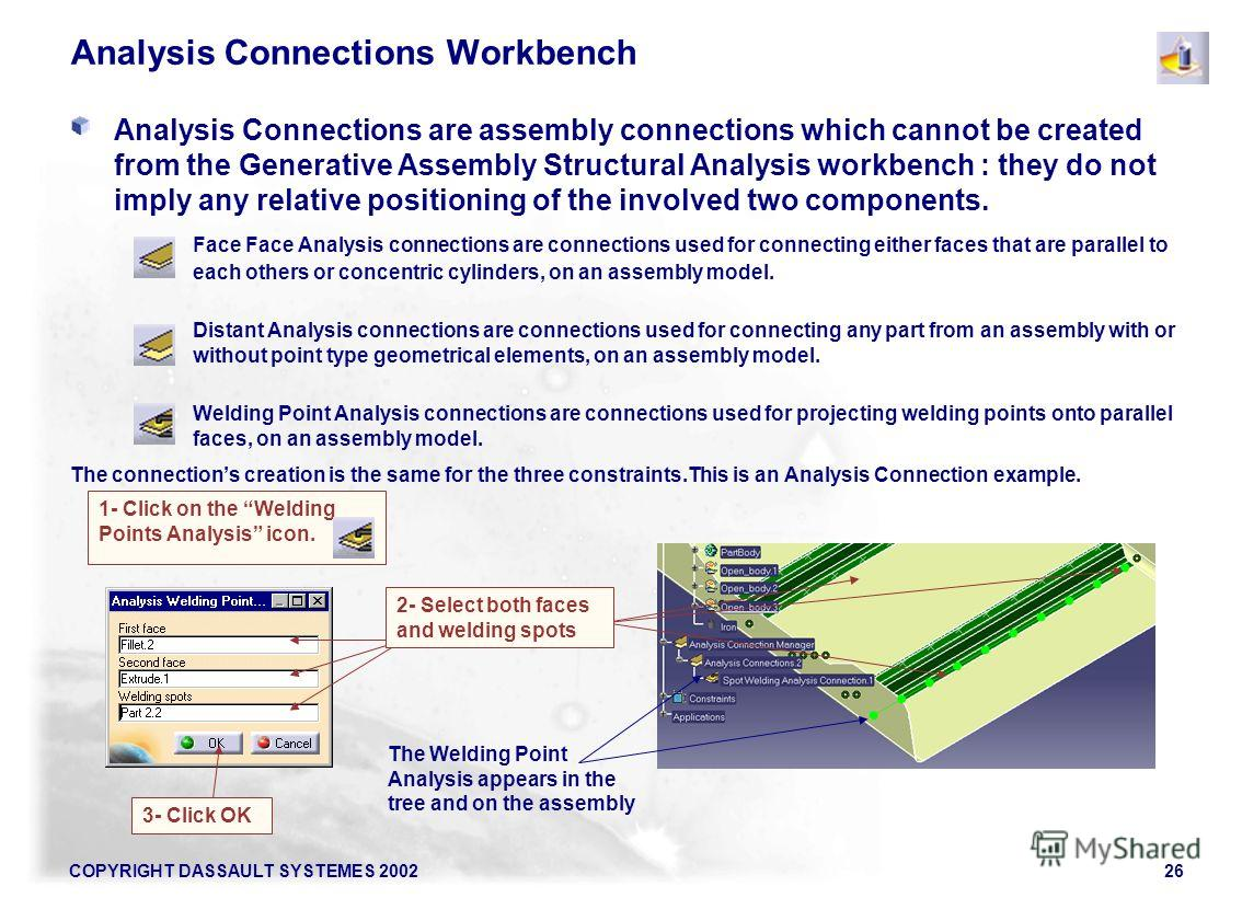 COPYRIGHT DASSAULT SYSTEMES 200226 Analysis Connections Workbench Analysis Connections are assembly connections which cannot be created from the Generative Assembly Structural Analysis workbench : they do not imply any relative positioning of the inv