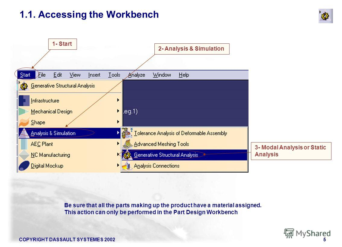COPYRIGHT DASSAULT SYSTEMES 20025 Be sure that all the parts making up the product have a material assigned. This action can only be performed in the Part Design Workbench 3- Modal Analysis or Static Analysis 2- Analysis & Simulation 1.1. Accessing t