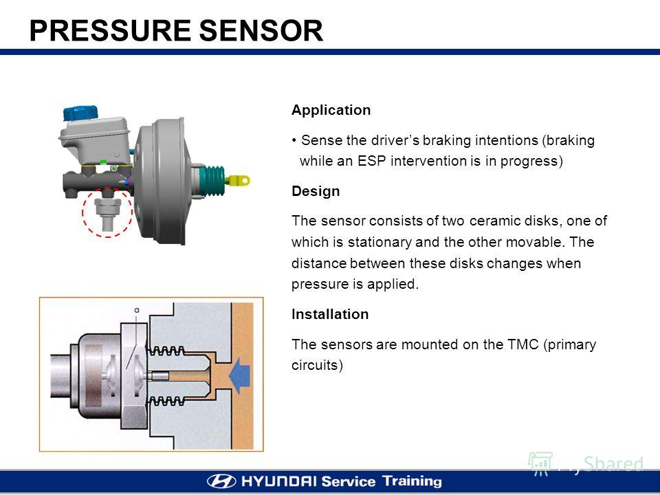 PRESSURE SENSOR Application Sense the drivers braking intentions (braking while an ESP intervention is in progress) Design The sensor consists of two ceramic disks, one of which is stationary and the other movable. The distance between these disks ch