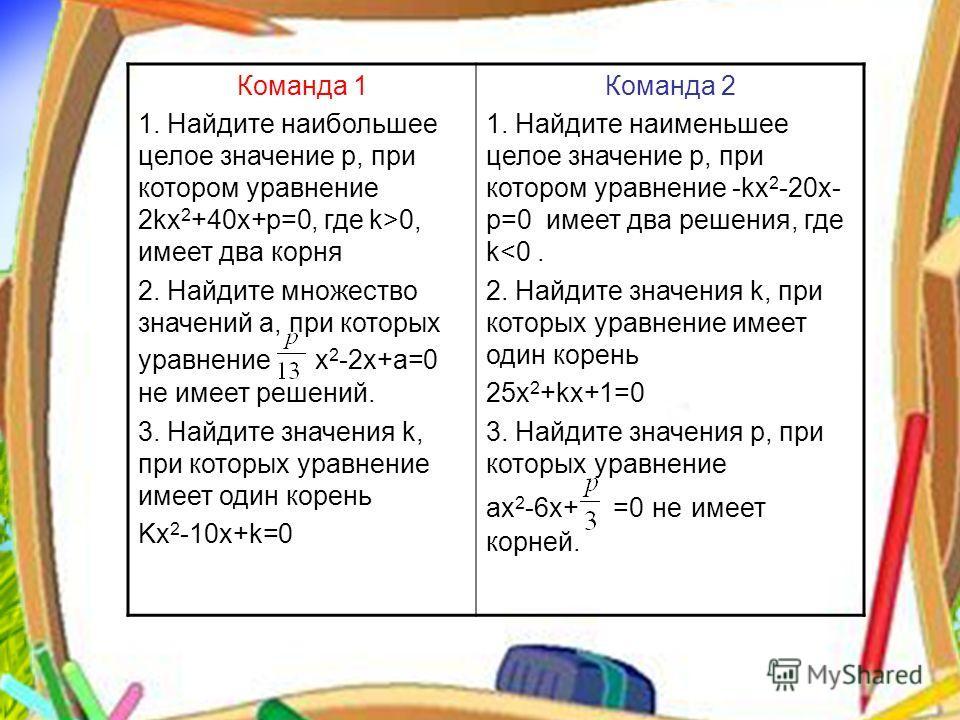 Команда 1 1. Найдите наибольшее целое значение р, при котором уравнение 2kx 2 +40x+p=0, где k>0, имеет два корня 2. Найдите множество значений а, при которых уравнение x 2 -2x+a=0 не имеет решений. 3. Найдите значения k, при которых уравнение имеет о