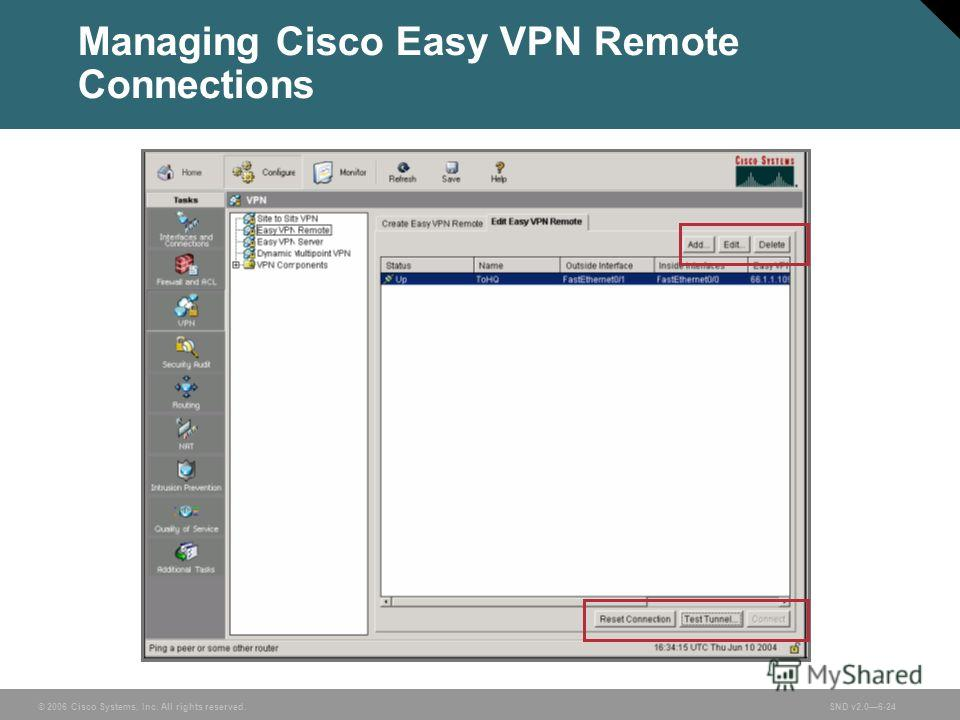 © 2006 Cisco Systems, Inc. All rights reserved.SND v2.06-24 Managing Cisco Easy VPN Remote Connections