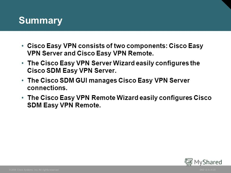 © 2006 Cisco Systems, Inc. All rights reserved.SND v2.06-25 Summary Cisco Easy VPN consists of two components: Cisco Easy VPN Server and Cisco Easy VPN Remote. The Cisco Easy VPN Server Wizard easily configures the Cisco SDM Easy VPN Server. The Cisc