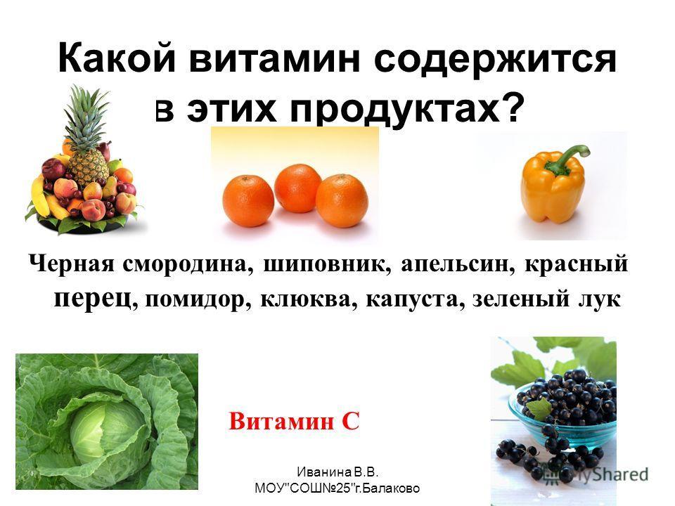 Иванина В.В. МОУСОШ25г.Балаково Какой витамин содержится в этих продуктах? Витамин С Черная смородина, шиповник, апельсин, красный перец, помидор, клюква, капуста, зеленый лук