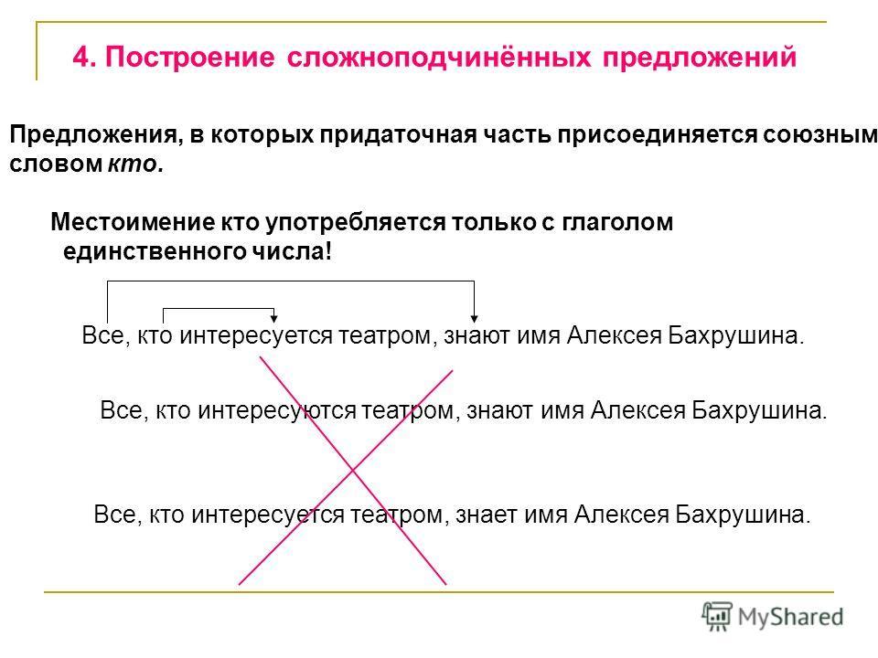 4. Построение сложноподчинённых предложений Предложения, в которых придаточная часть присоединяется союзным словом кто. Местоимение кто употребляется только с глаголом единственного числа! Все, кто интересуется театром, знают имя Алексея Бахрушина. В