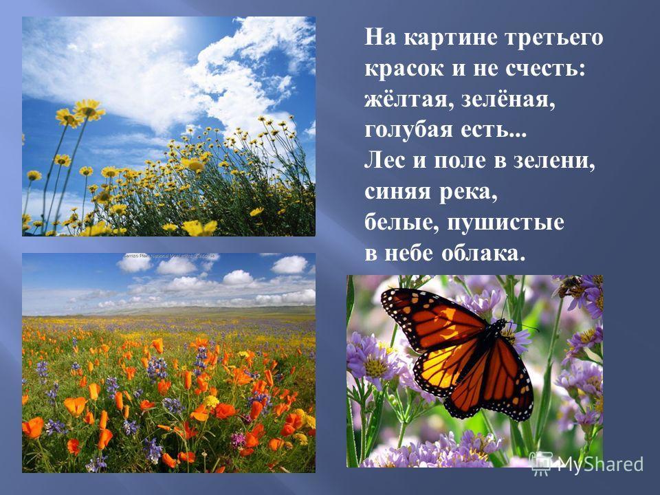 На картине третьего красок и не счесть : жёлтая, зелёная, голубая есть... Лес и поле в зелени, синяя река, белые, пушистые в небе облака.