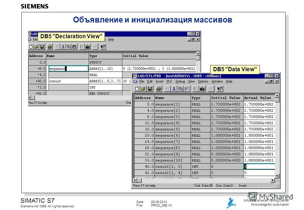 Date:29.09.2014 File:PRO2_05E.14 SIMATIC S7 Siemens AG 1999. All rights reserved. Information and Training Center Knowledge for Automation Объявление и инициализация массивов DB5 Declaration View DB5 Data View