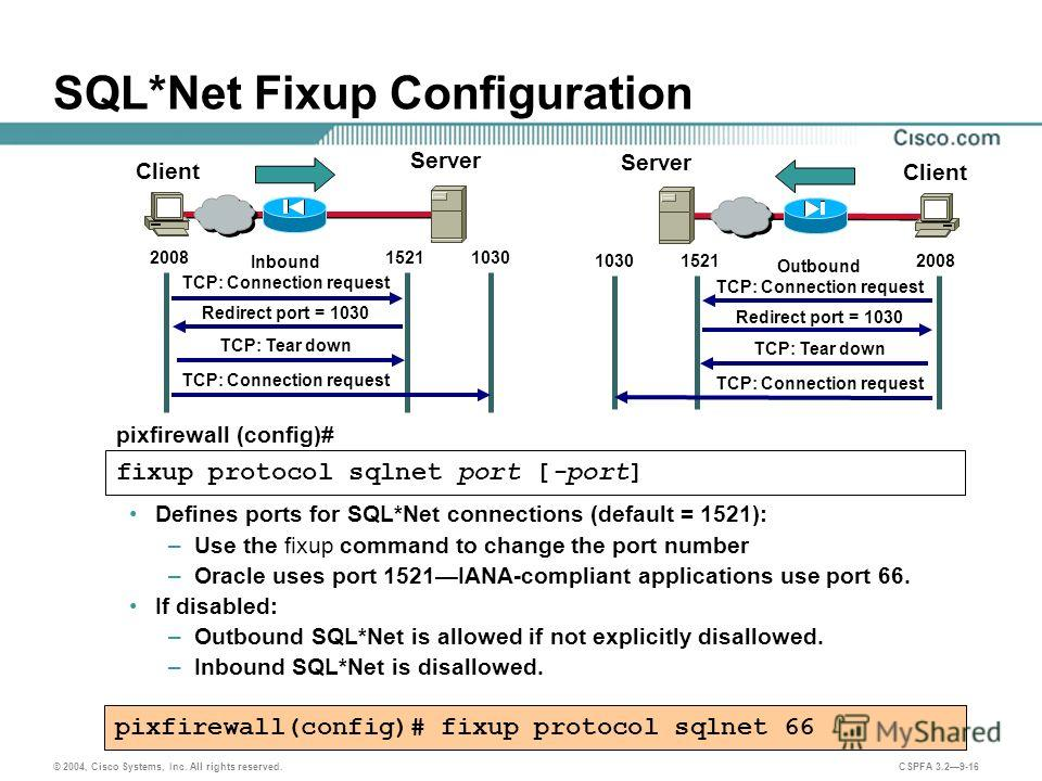 © 2004, Cisco Systems, Inc. All rights reserved. CSPFA 3.29-16 SQL*Net Fixup Configuration Defines ports for SQL*Net connections (default = 1521): –Use the fixup command to change the port number –Oracle uses port 1521IANA-compliant applications use