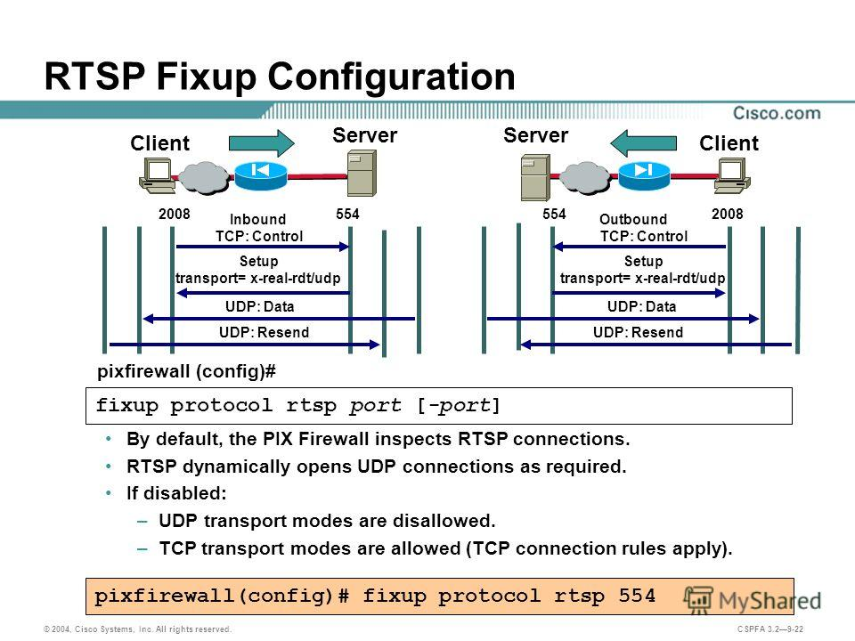 © 2004, Cisco Systems, Inc. All rights reserved. CSPFA 3.29-22 RTSP Fixup Configuration By default, the PIX Firewall inspects RTSP connections. RTSP dynamically opens UDP connections as required. If disabled: –UDP transport modes are disallowed. –TCP