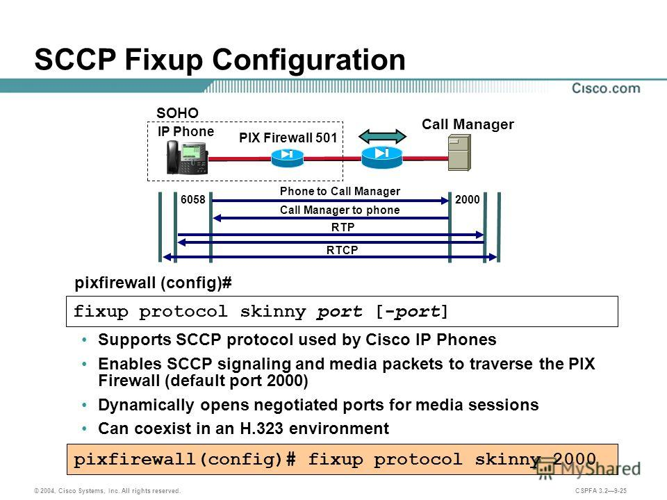 © 2004, Cisco Systems, Inc. All rights reserved. CSPFA 3.29-25 SCCP Fixup Configuration Supports SCCP protocol used by Cisco IP Phones Enables SCCP signaling and media packets to traverse the PIX Firewall (default port 2000) Dynamically opens negotia