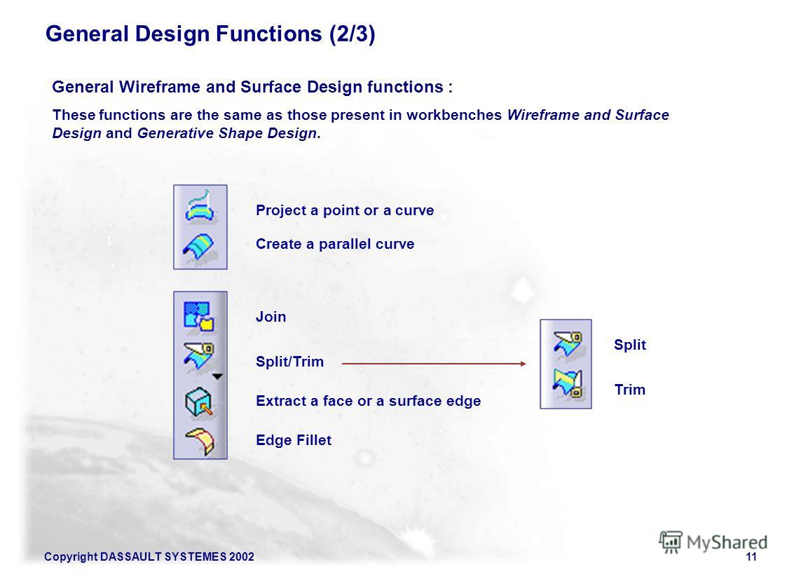 Copyright DASSAULT SYSTEMES 200211 General Design Functions (2/3) General Wireframe and Surface Design functions : These functions are the same as those present in workbenches Wireframe and Surface Design and Generative Shape Design. Project a point