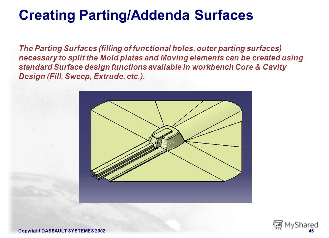 Copyright DASSAULT SYSTEMES 200246 Creating Parting/Addenda Surfaces The Parting Surfaces (filling of functional holes, outer parting surfaces) necessary to split the Mold plates and Moving elements can be created using standard Surface design functi