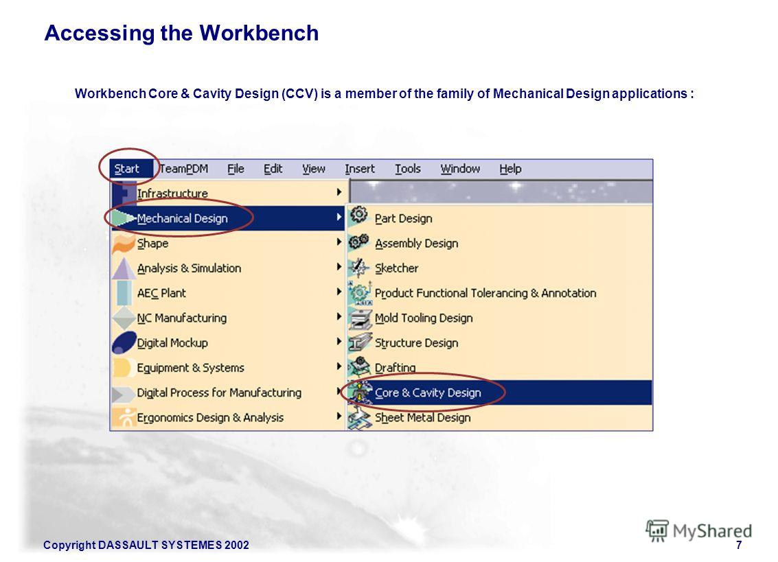 Copyright DASSAULT SYSTEMES 20027 Accessing the Workbench Workbench Core & Cavity Design (CCV) is a member of the family of Mechanical Design applications :