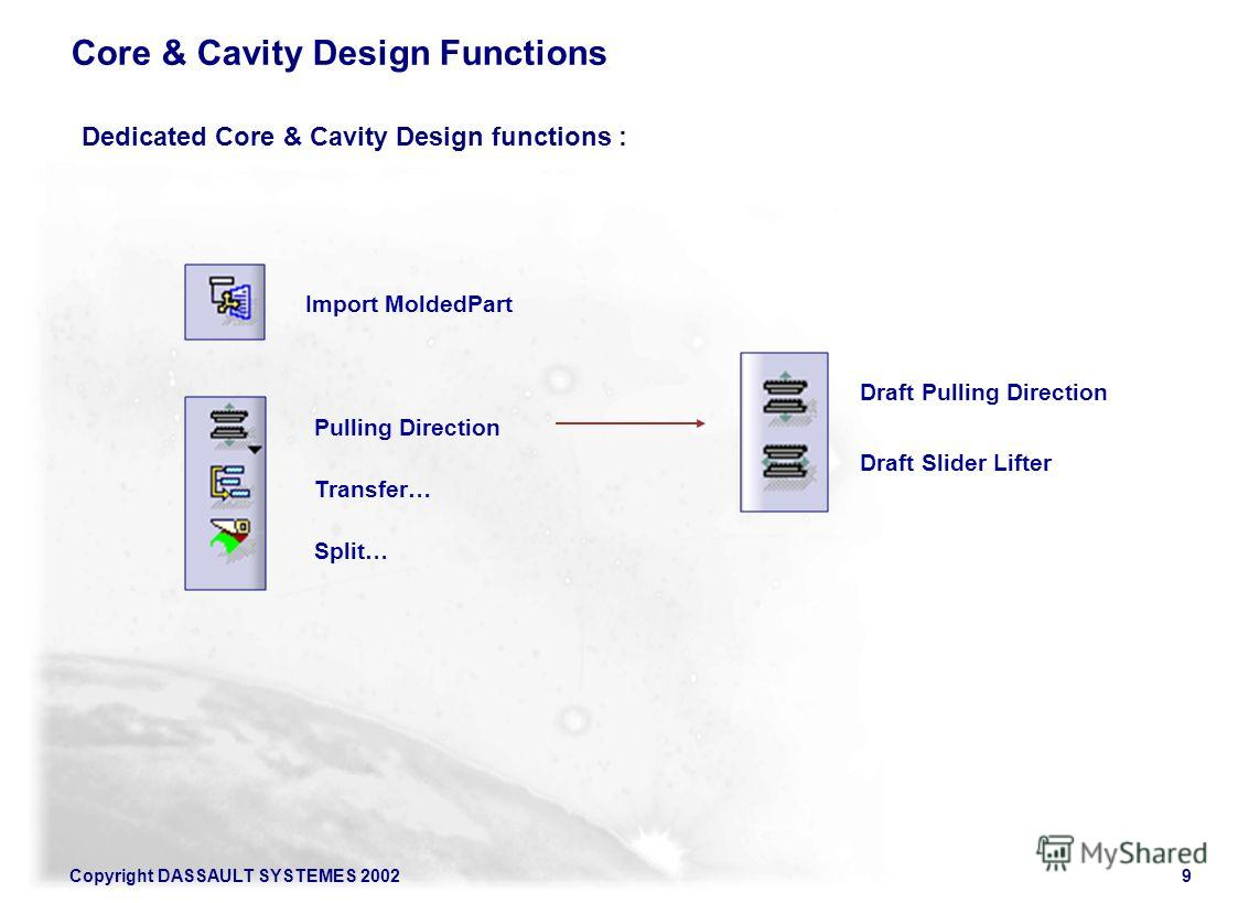 Copyright DASSAULT SYSTEMES 20029 Core & Cavity Design Functions Import MoldedPart Pulling Direction Transfer… Split… Dedicated Core & Cavity Design functions : Draft Pulling Direction Draft Slider Lifter