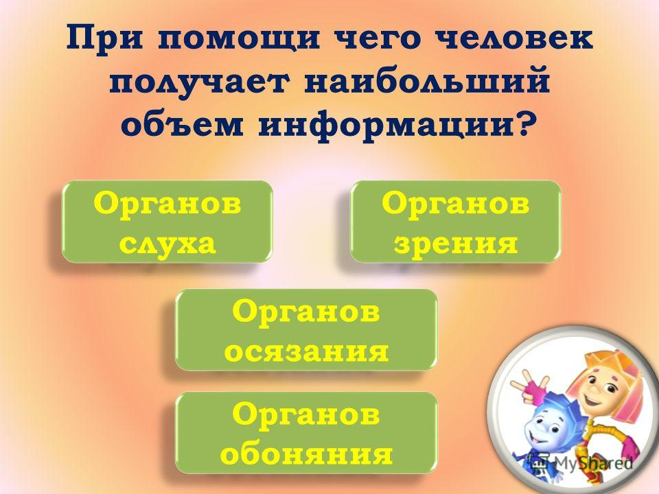 При помощи чего человек получает наибольший объем информации? Органов слуха Органов зрения Органов обоняния Органов осязания