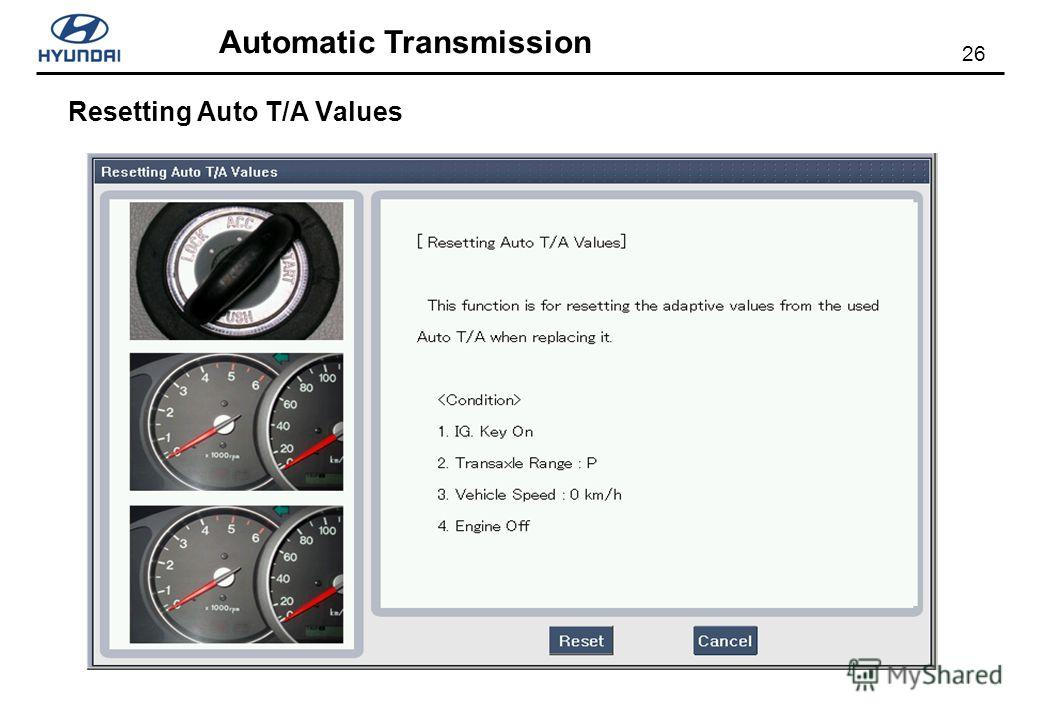 26 Automatic Transmission Resetting Auto T/A Values