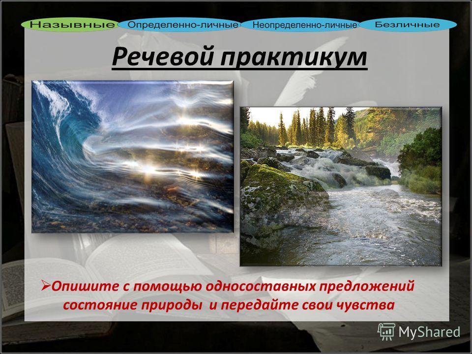 Опишите с помощью односоставных предложе ний состояние природы и передайте свои чувства Речевой практикум