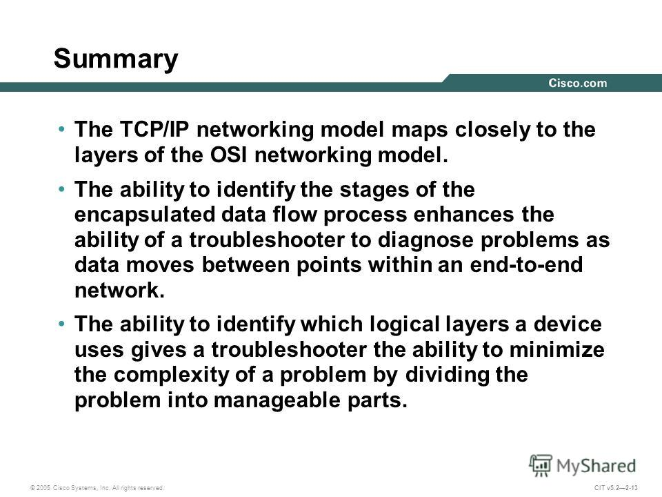 © 2005 Cisco Systems, Inc. All rights reserved. CIT v5.22-13 Summary The TCP/IP networking model maps closely to the layers of the OSI networking model. The ability to identify the stages of the encapsulated data flow process enhances the ability of