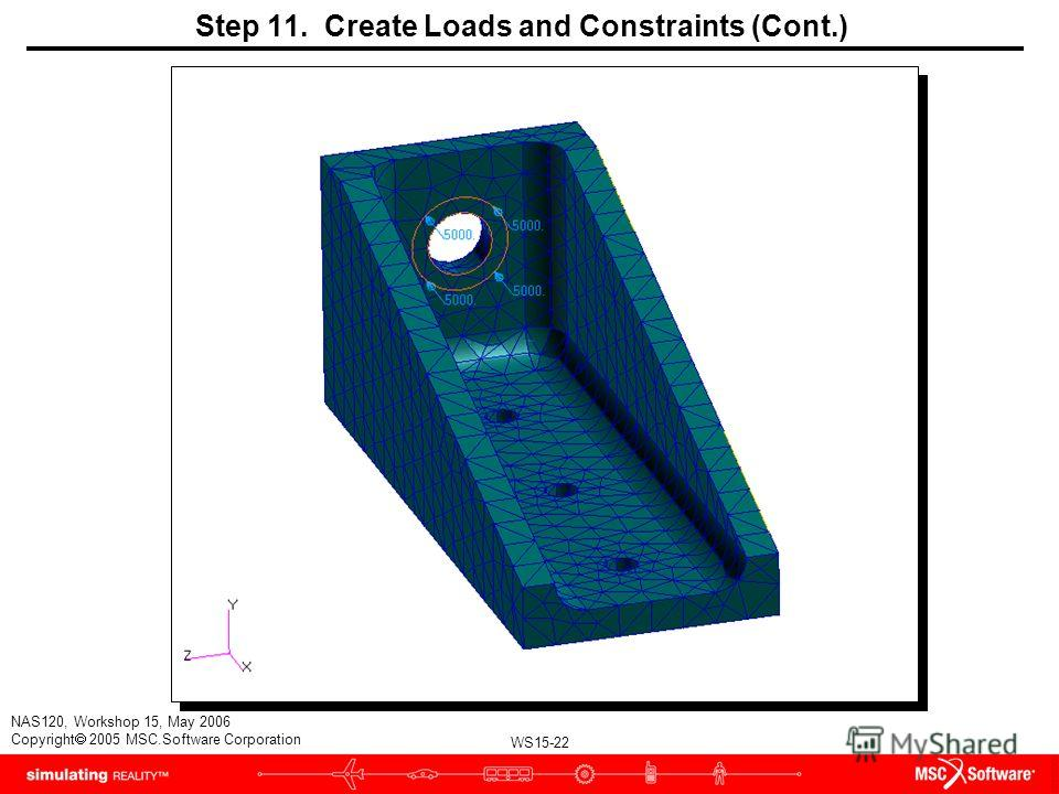 WS15-22 NAS120, Workshop 15, May 2006 Copyright 2005 MSC.Software Corporation Step 11. Create Loads and Constraints (Cont.)