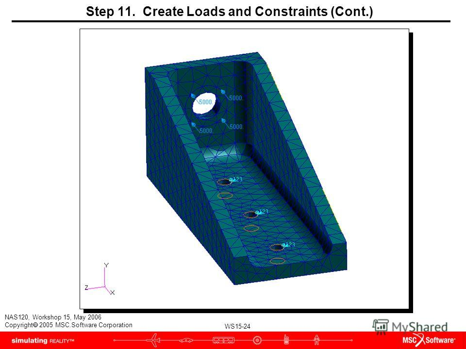 WS15-24 NAS120, Workshop 15, May 2006 Copyright 2005 MSC.Software Corporation Step 11. Create Loads and Constraints (Cont.)