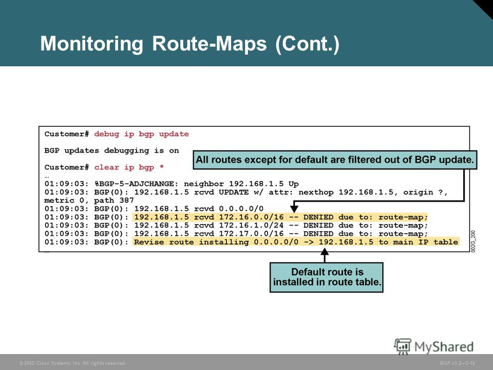 © 2005 Cisco Systems, Inc. All rights reserved. BGP v3.23-16 Monitoring Route-Maps (Cont.)