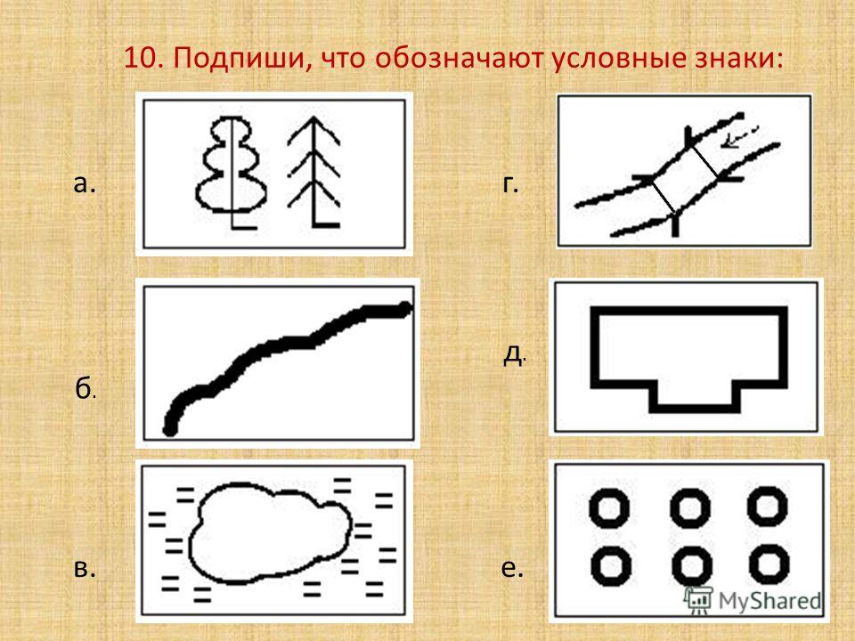 10. Подпиши, что обозначают условные знаки: а. б.б. в. г. д.д. е.