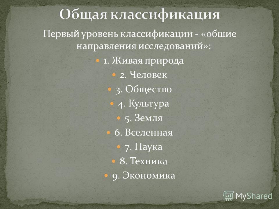 Первый уровень классификации - «общие направления исследований»: 1. Живая природа 2. Человек 3. Общество 4. Культура 5. Земля 6. Вселенная 7. Наука 8. Техника 9. Экономика