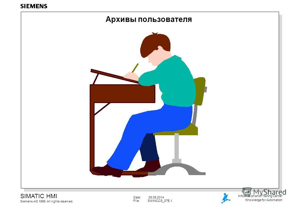 Date: 29.09.2014 File:SWINCCS_07E.1 SIMATIC HMI Siemens AG 1999. All rights reserved. Information and Training Center Knowledge for Automation Архивы пользователя