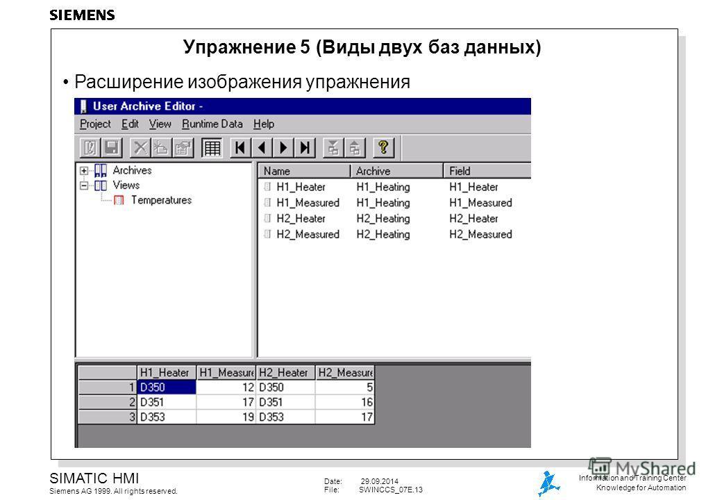 Date: 29.09.2014 File:SWINCCS_07E.13 SIMATIC HMI Siemens AG 1999. All rights reserved. Information and Training Center Knowledge for Automation Упражнение 5 (Виды двух баз данных) Расширение изображения упражнения