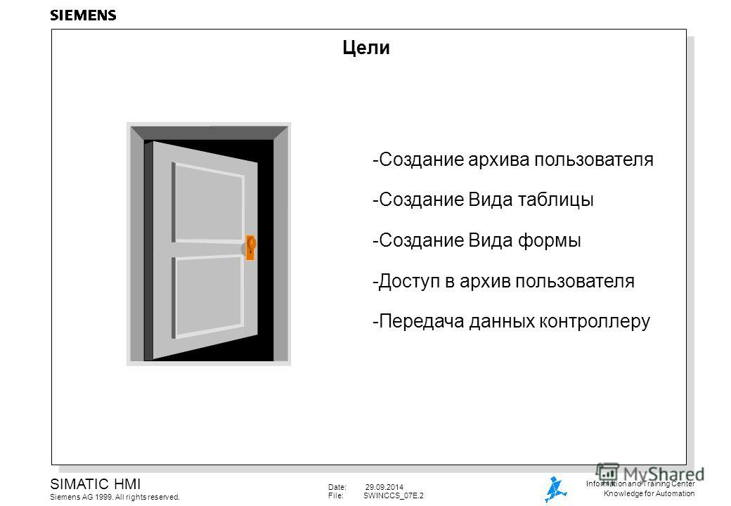 Date: 29.09.2014 File:SWINCCS_07E.2 SIMATIC HMI Siemens AG 1999. All rights reserved. Information and Training Center Knowledge for Automation Цели -Создание архива пользователя -Создание Вида таблицы -Создание Вида формы -Доступ в архив пользователя