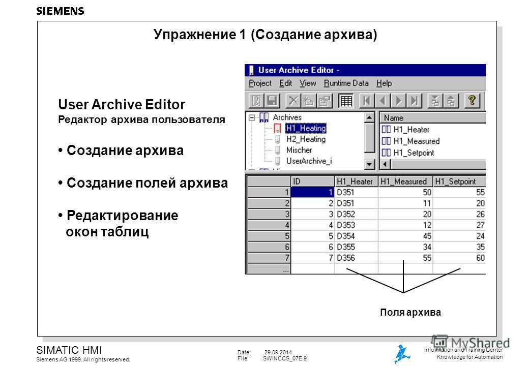 Date: 29.09.2014 File:SWINCCS_07E.9 SIMATIC HMI Siemens AG 1999. All rights reserved. Information and Training Center Knowledge for Automation Упражнение 1 (Создание архива) User Archive Editor Редактор архива пользователя Создание архива Создание по