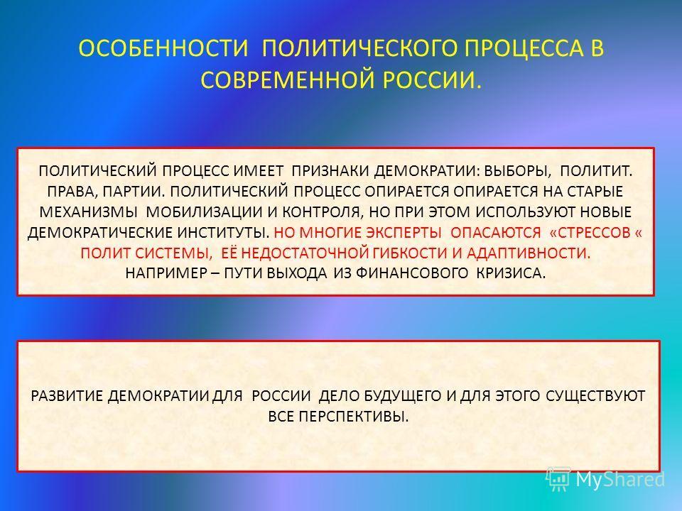 ОСОБЕННОСТИ ПОЛИТИЧЕСКОГО ПРОЦЕССА В СОВРЕМЕННОЙ РОССИИ. ПОЛИТИЧЕСКИЙ ПРОЦЕСС ИМЕЕТ ПРИЗНАКИ ДЕМОКРАТИИ: ВЫБОРЫ, ПОЛИТИТ. ПРАВА, ПАРТИИ. ПОЛИТИЧЕСКИЙ ПРОЦЕСС ОПИРАЕТСЯ ОПИРАЕТСЯ НА СТАРЫЕ МЕХАНИЗМЫ МОБИЛИЗАЦИИ И КОНТРОЛЯ, НО ПРИ ЭТОМ ИСПОЛЬЗУЮТ НОВЫЕ