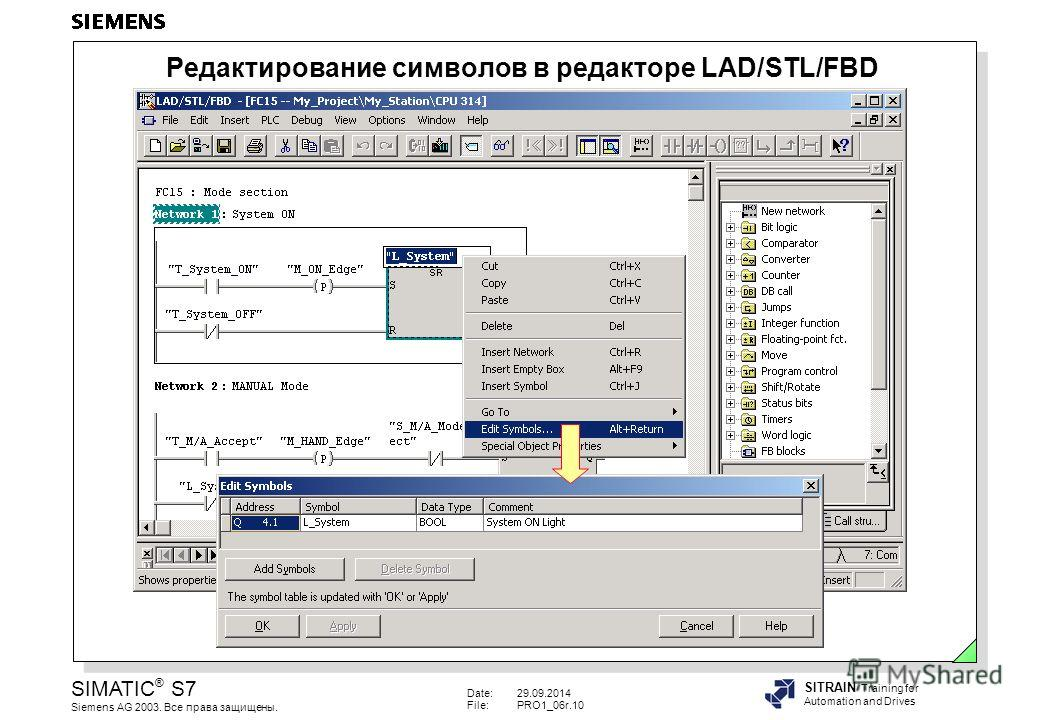 Date:29.09.2014 File:PRO1_06r.10 SIMATIC ® S7 Siemens AG 2003. Все права защищены. SITRAIN Training for Automation and Drives Редактирование символов в редакторе LAD/STL/FBD