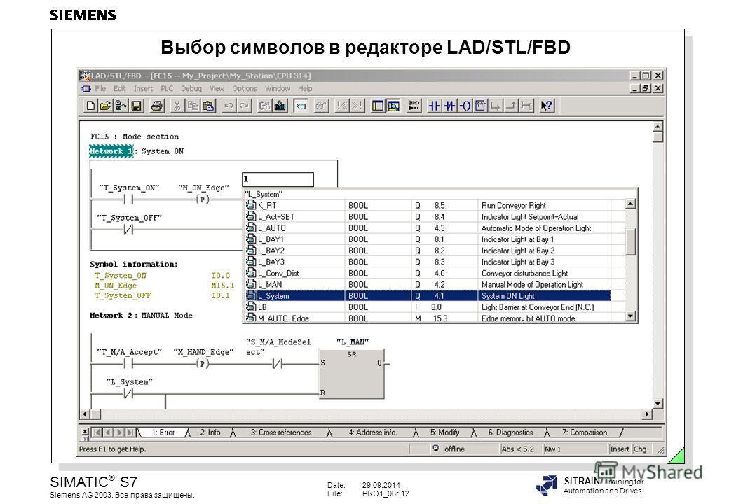 Date:29.09.2014 File:PRO1_06r.12 SIMATIC ® S7 Siemens AG 2003. Все права защищены. SITRAIN Training for Automation and Drives Выбор символов в редакторе LAD/STL/FBD