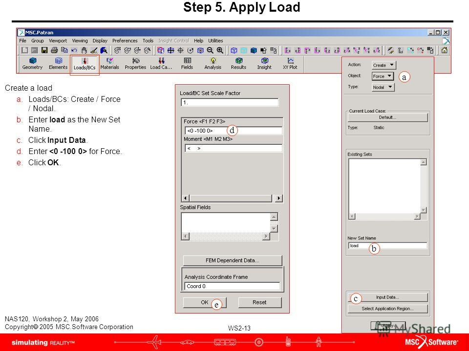 WS2-13 NAS120, Workshop 2, May 2006 Copyright 2005 MSC.Software Corporation Step 5. Apply Load Create a load a.Loads/BCs: Create / Force / Nodal. b.Enter load as the New Set Name. c.Click Input Data. d.Enter for Force. e.Click OK. d e b c a