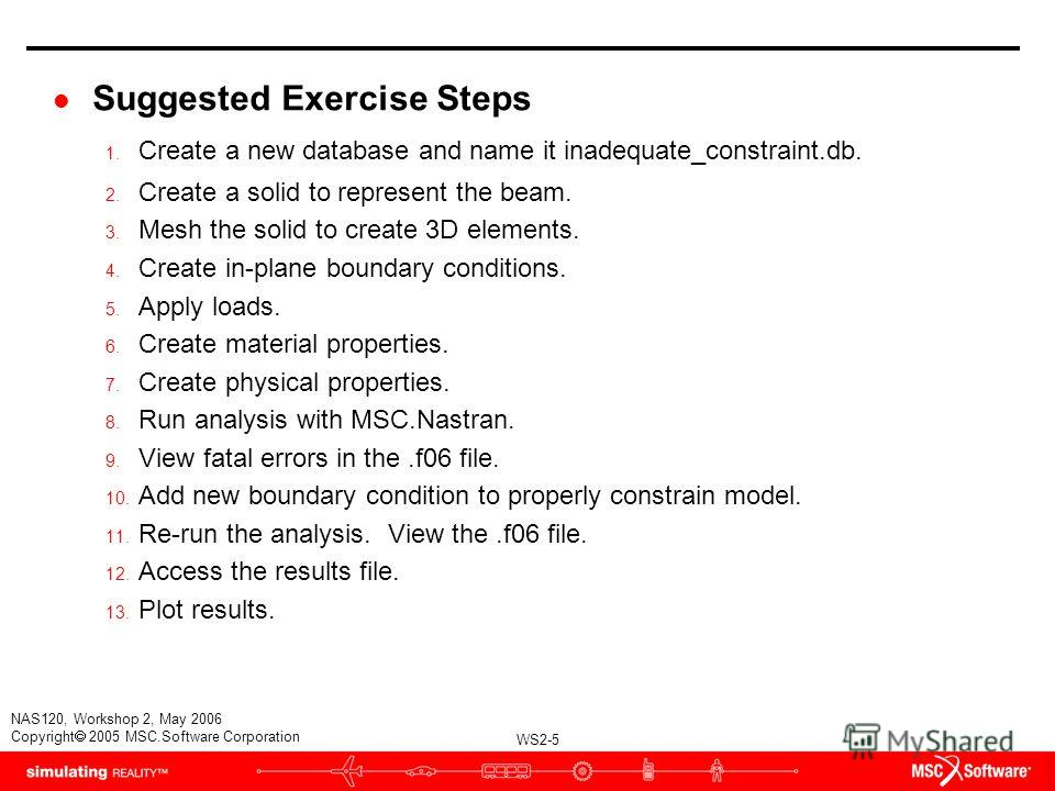 WS2-5 NAS120, Workshop 2, May 2006 Copyright 2005 MSC.Software Corporation l Suggested Exercise Steps 1. Create a new database and name it inadequate_constraint.db. 2. Create a solid to represent the beam. 3. Mesh the solid to create 3D elements. 4.
