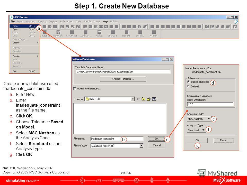 WS2-6 NAS120, Workshop 2, May 2006 Copyright 2005 MSC.Software Corporation b c d f g Step 1. Create New Database Create a new database called inadequate_constraint.db a.File / New. b.Enter inadequate_constraint as the file name. c.Click OK. d.Choose