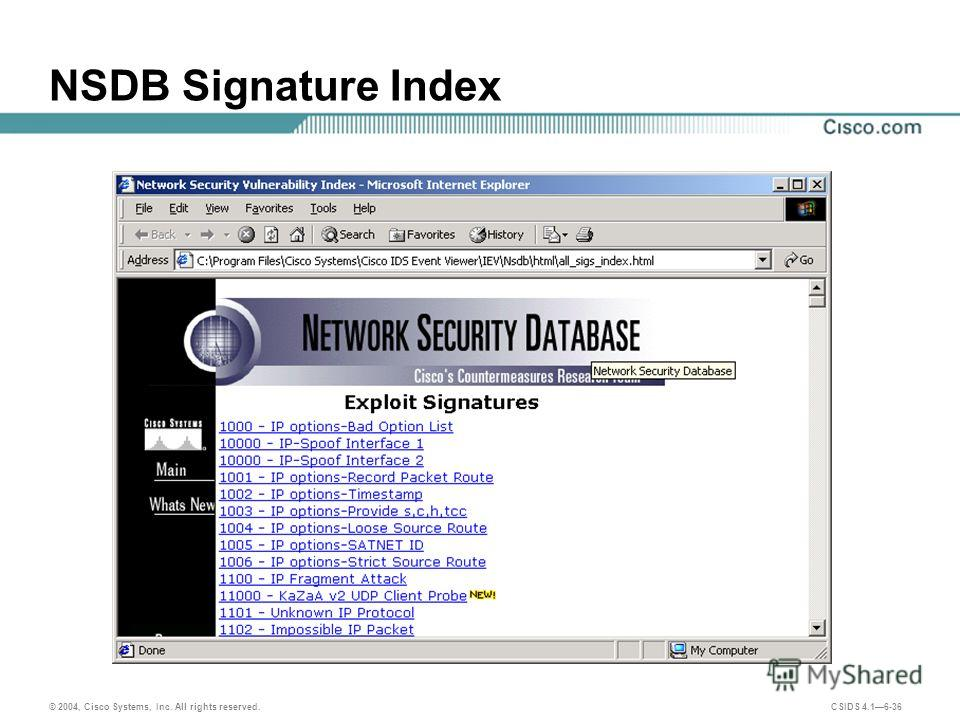 © 2004, Cisco Systems, Inc. All rights reserved. CSIDS 4.16-36 NSDB Signature Index