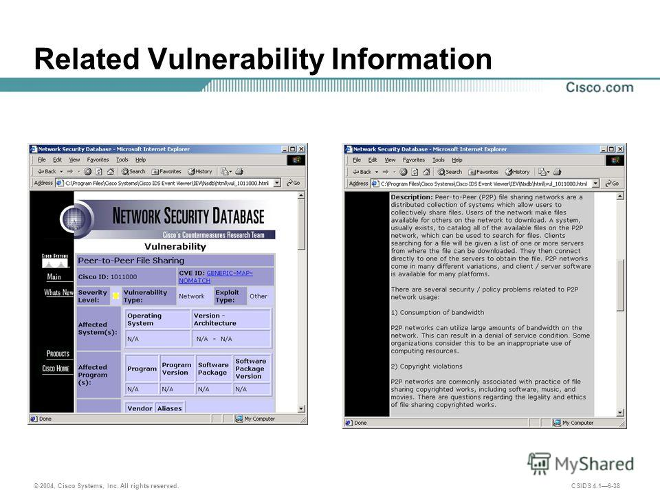 © 2004, Cisco Systems, Inc. All rights reserved. CSIDS 4.16-38 Related Vulnerability Information
