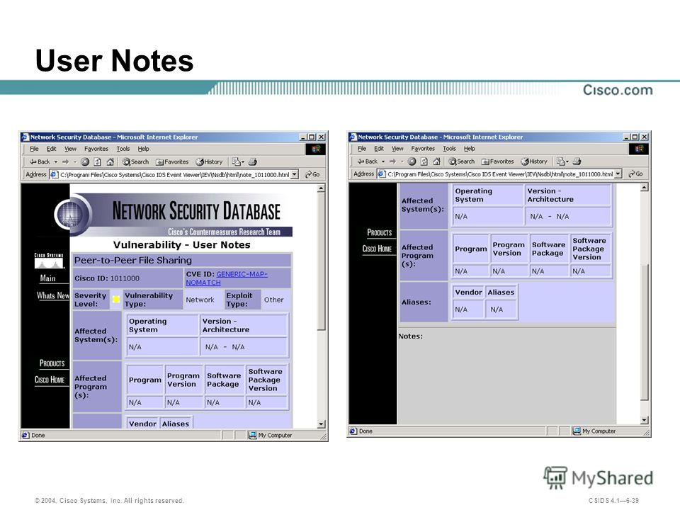 © 2004, Cisco Systems, Inc. All rights reserved. CSIDS 4.16-39 User Notes