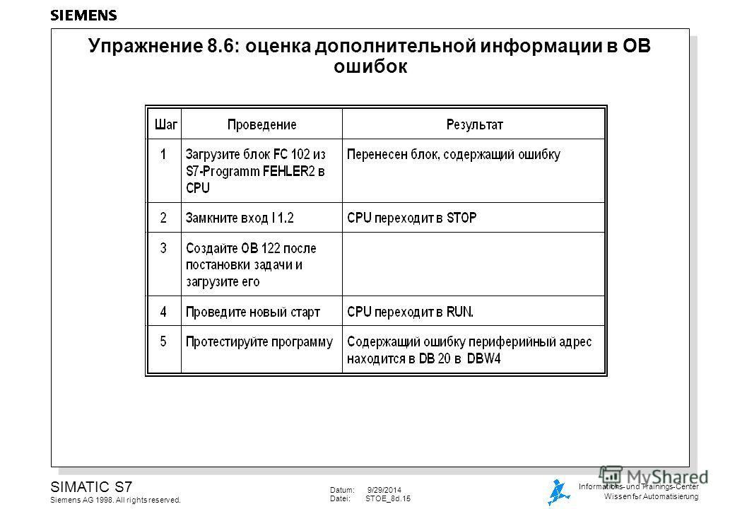 Datum: 9/29/2014 Datei:STOE_8d.15 SIMATIC S7 Siemens AG 1998. All rights reserved. Informations- und Trainings-Center Wissen for Automatisierung Упражнение 8.6: оценка дополнительной информации в OB ошибок